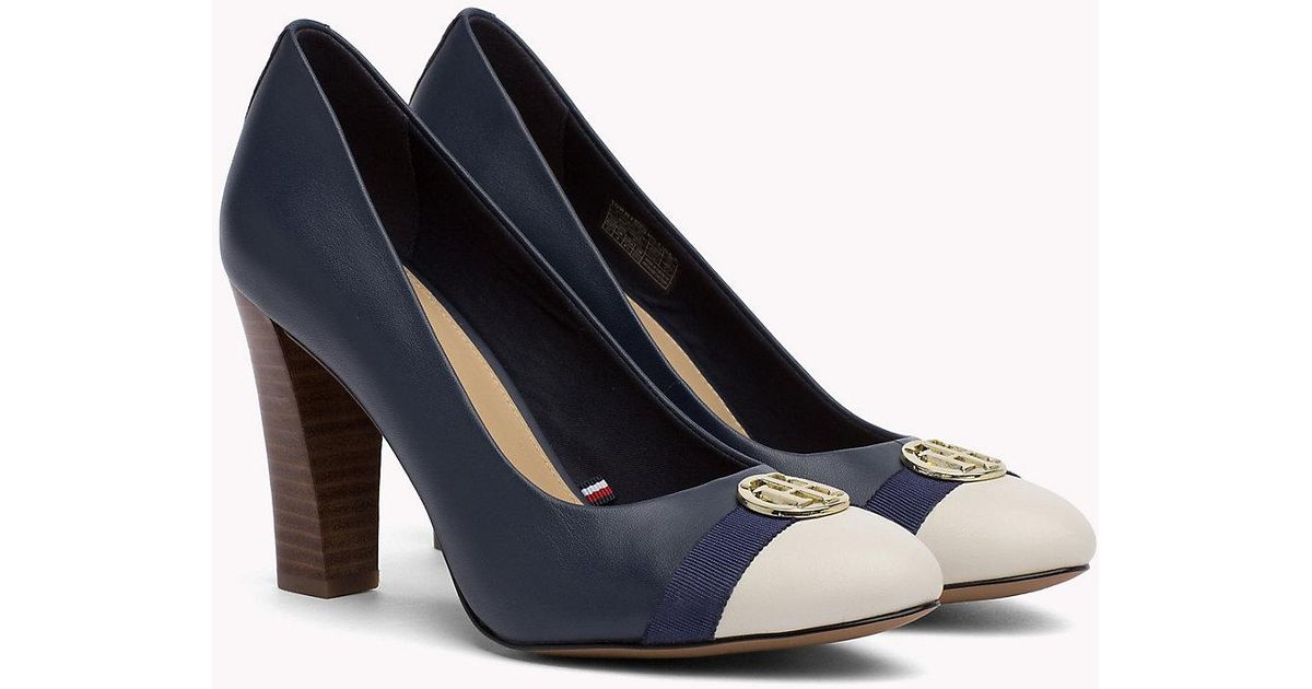 fc48814b2 Tommy Hilfiger Colour-blocked Leather Pumps in Blue - Lyst