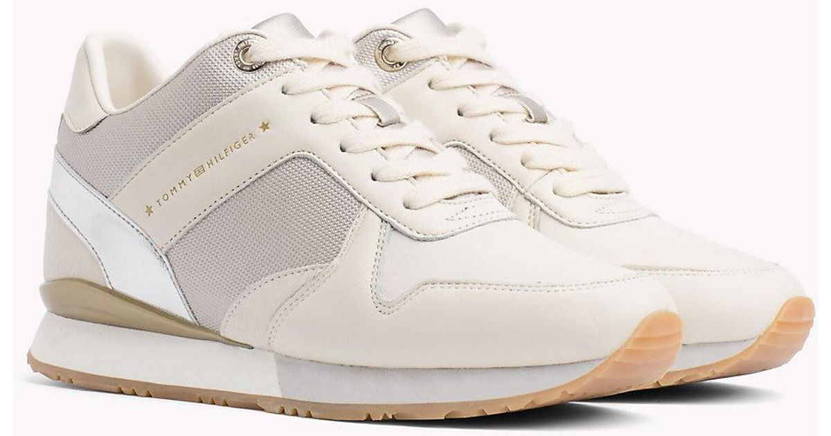 7056e663c4891a Tommy Hilfiger Metallic Detail Hidden Wedge Trainers in White - Lyst