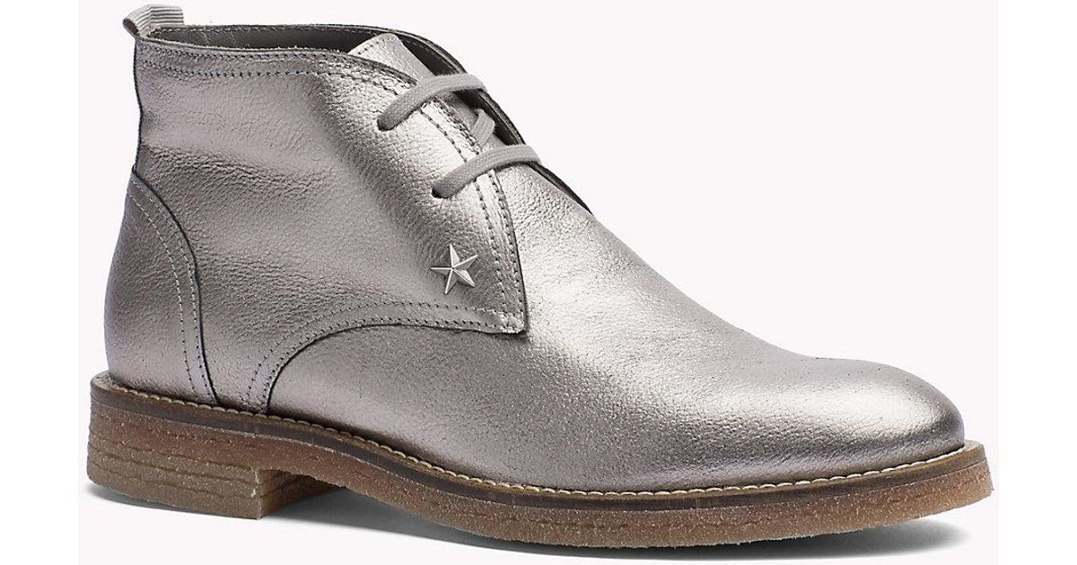 7966ba0ee2e7 Tommy Hilfiger Metallic Leather Ankle Boot in Metallic - Lyst