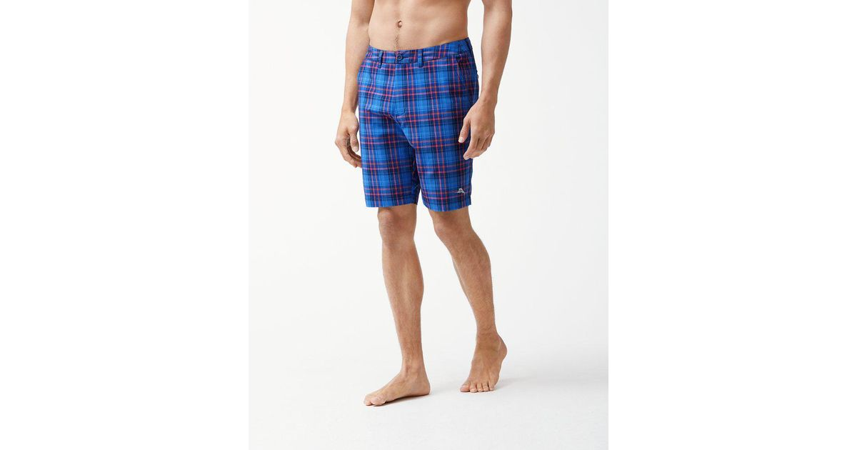 fbd8357fb5 Tommy Bahama Cayman Primero Plaid 9-inch Hybrid Board Shorts in Blue for  Men - Lyst