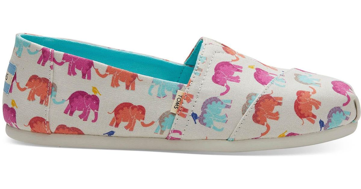 abee85f12b2 Lyst - TOMS Elephant Canvas Women s Classics in Blue