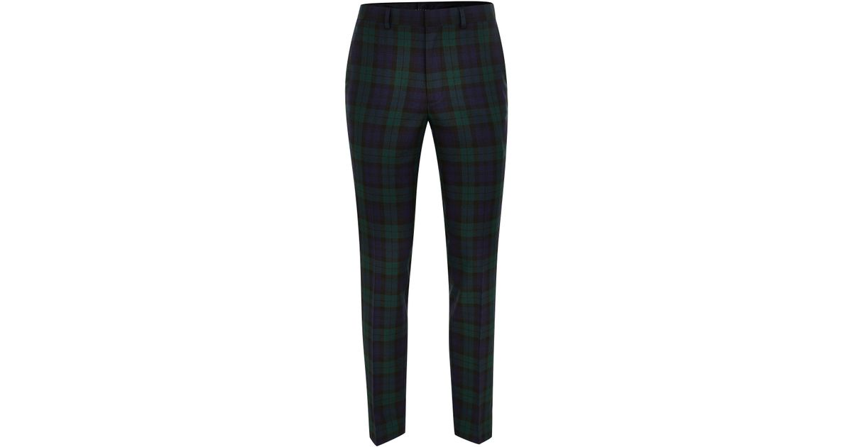 988c89460 Topman - Black Navy Green Check Dress Pant for Men - Lyst