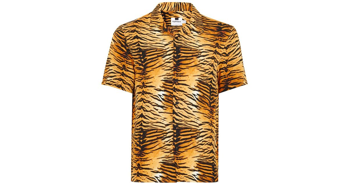 d4d6818ad26 Lyst - TOPMAN Tiger Print Classic Shirt for Men