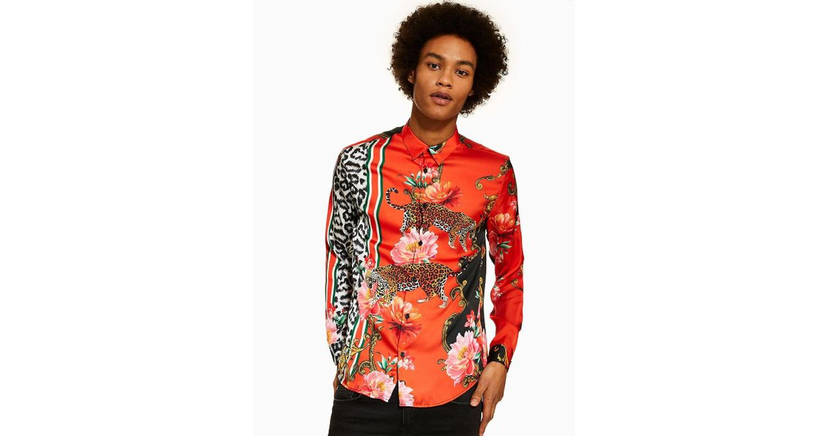 168ec43ba6d0 Jaded Leopard Print Floral Shirt in Red for Men - Lyst
