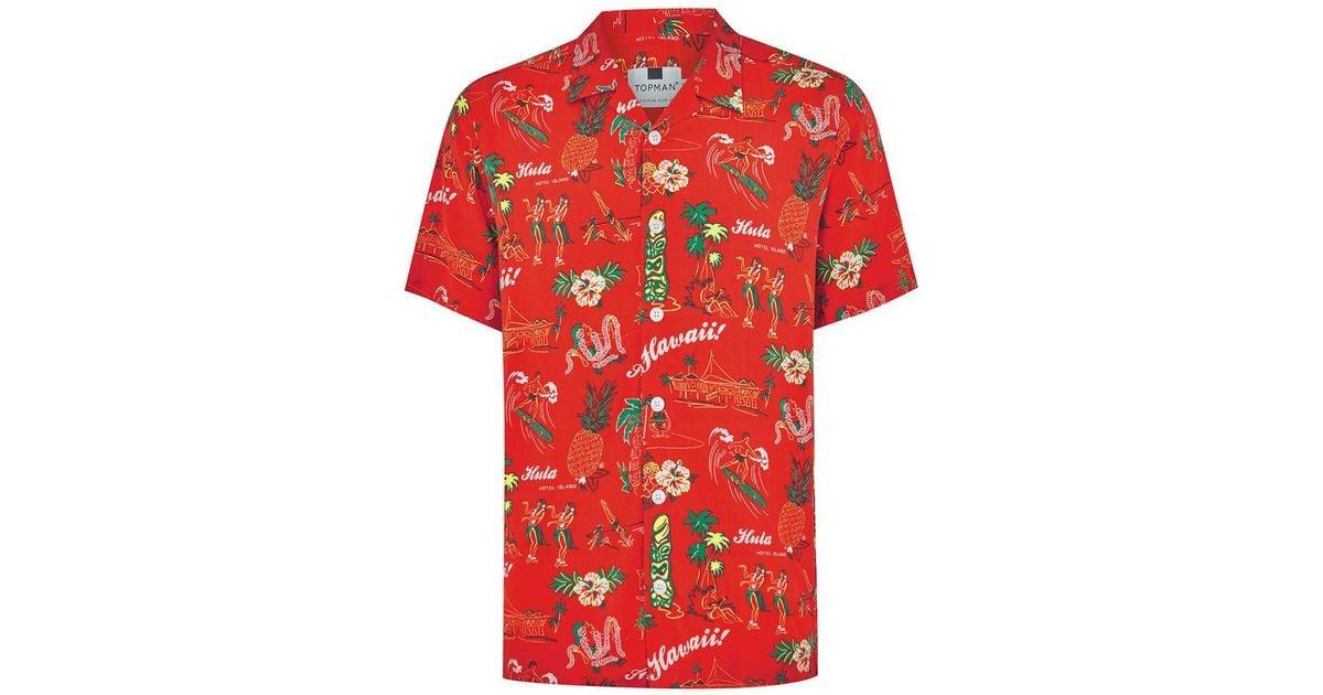 37f327f2 TOPMAN Red Hawaiian Classic Shirt in Red for Men - Lyst