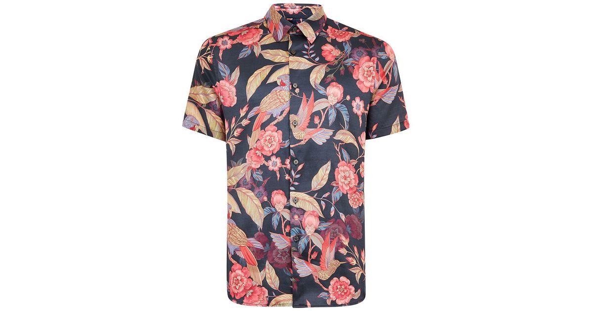 95bfdb0e1f4a8 TOPMAN Premium Dark Parrot Slim Smart Shirt in Black for Men - Lyst