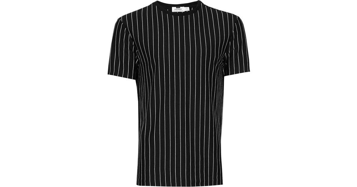 Topman Black And White Vertical Stripe T-shirt in Black ...