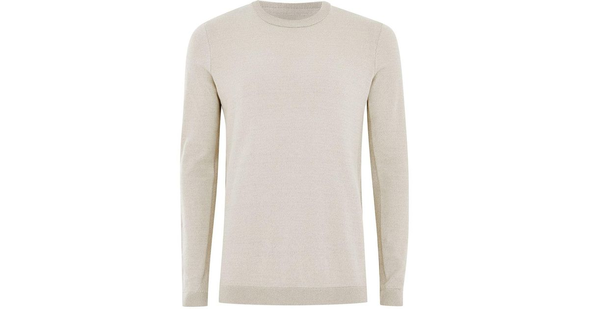 3b6a4d4e87df Lyst - TOPMAN Off White Twist Side Ribbed Jumper for Men
