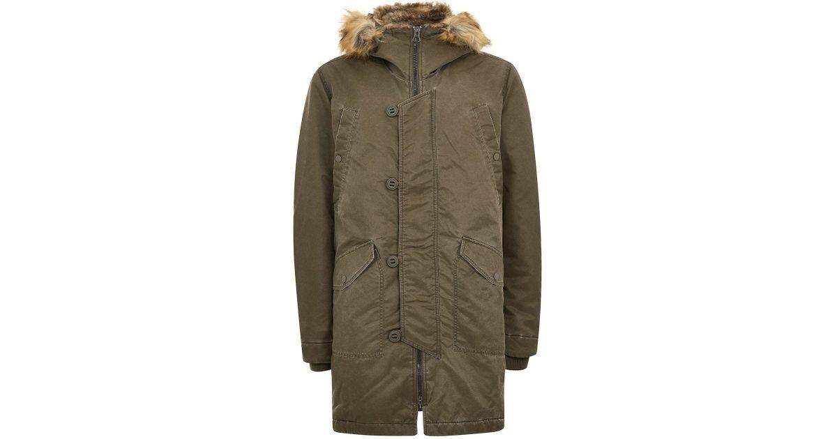 Fur Topman Lyst Wash Faux For Hooded Acid Men Jacket pS44zwxn