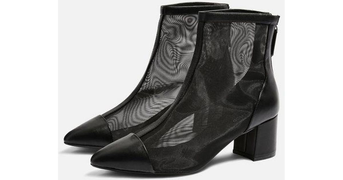 dd82a183df02 TOPSHOP Briony Mesh Boots in Black - Lyst