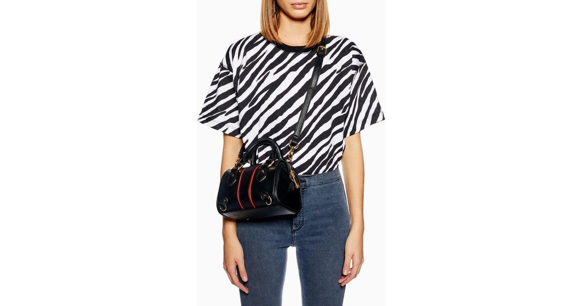 3d0b6a0a638d Lyst - TOPSHOP Stripe Mini Bowler Bag in Black
