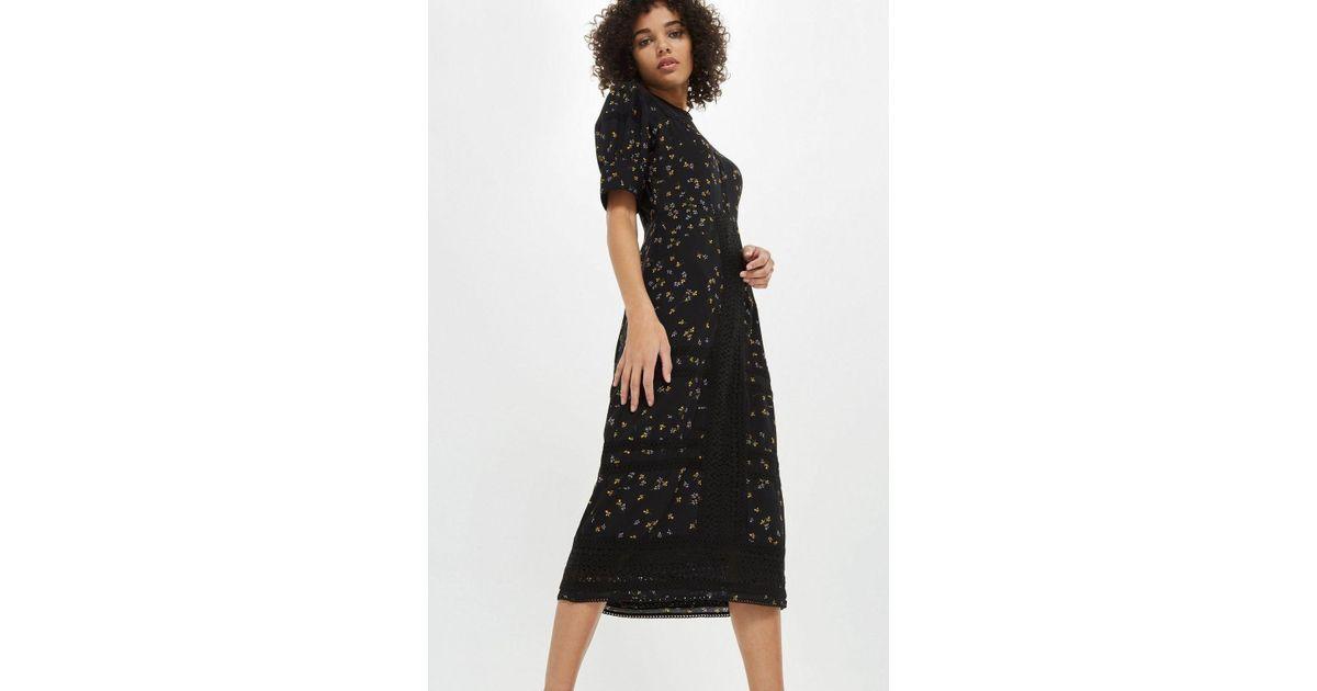 f1eb718154 TOPSHOP Lace Yoke Ditsy Midi Shift Dress in Black - Lyst