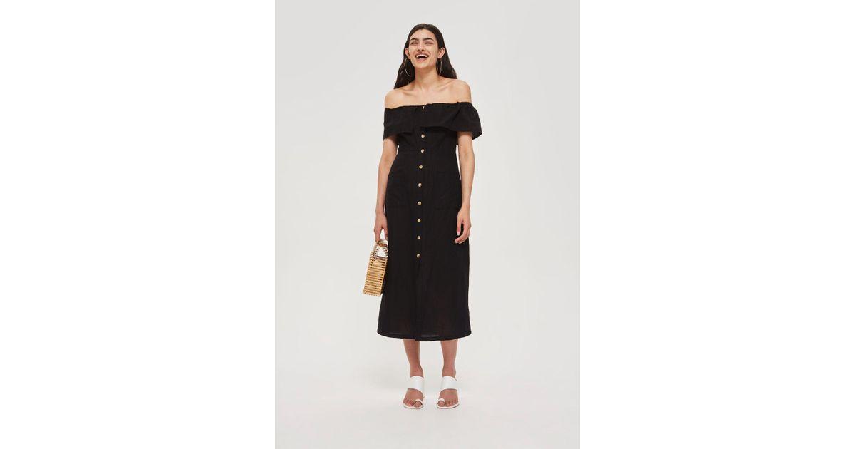65e4fc3a71e596 TOPSHOP Linen Bardot Midi Dress in Black - Lyst