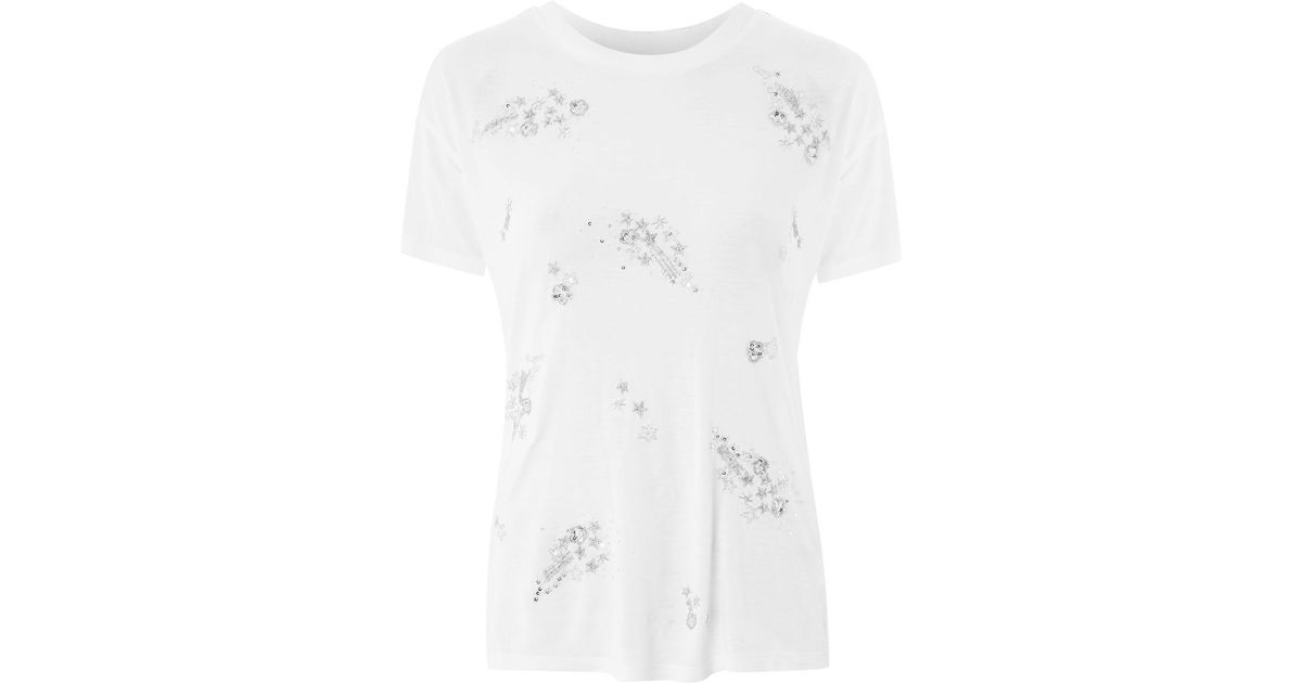 2c3f6894f05d6 Lyst - TOPSHOP Embellished Star T-shirt in White
