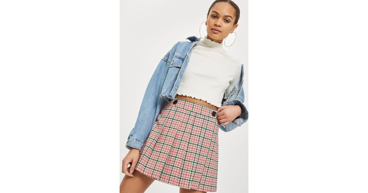 b8288c19b TOPSHOP Summer Checked Mini Kilt Skirt in Pink - Lyst