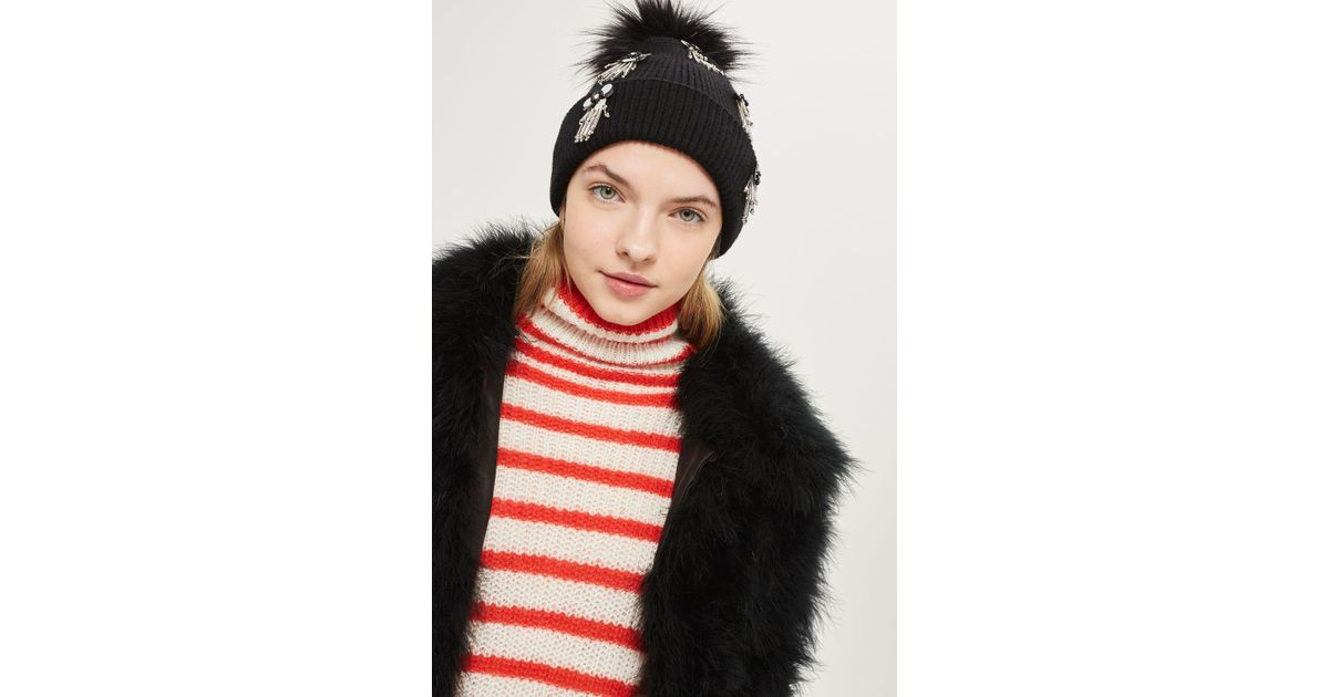 4fa7c54c1fc Lyst - Topshop Flower Burst Embroidered Sequin Beanie Hat in Black