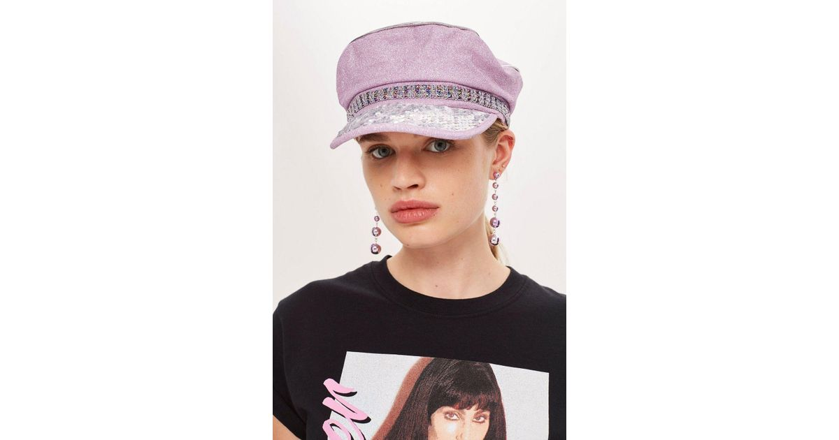 TOPSHOP Glitter Baker Boy Hat in Pink - Lyst d7f8393652b