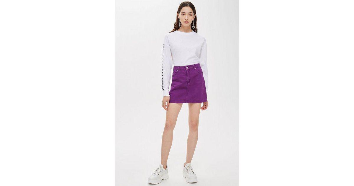 da2564a710 TOPSHOP Denim Skirt in Purple - Lyst