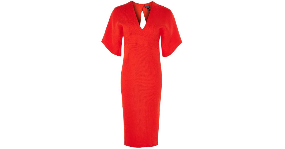 eadb4fdc20 TOPSHOP Textured Plunge V-neck Midi Dress in Red - Lyst