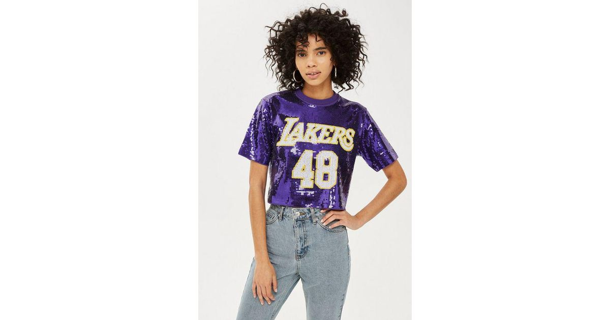 62be24dc537 TOPSHOP X Unk Lakers Sequin Crop Top in Purple - Lyst