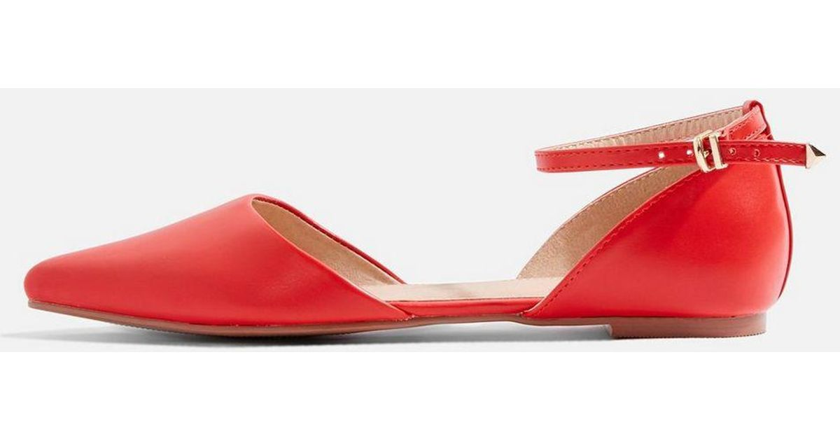 047349cfdf1 Lyst - Topshop Annie Two Part Pointed Shoes in Red