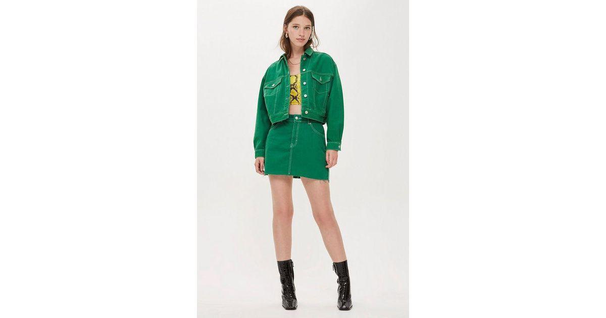75bf59a2a0c0 TOPSHOP Petitedenim Skirt in Green - Lyst