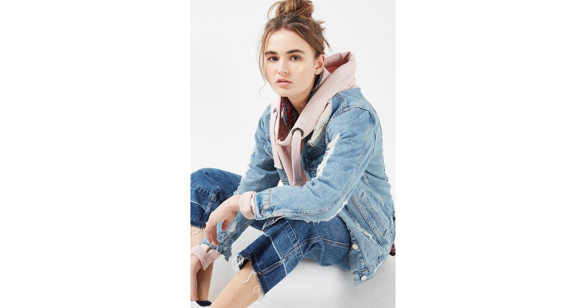 d7d91db9493 Lyst - TOPSHOP Moto Extreme Ripped Oversized Denim Jacket in Blue