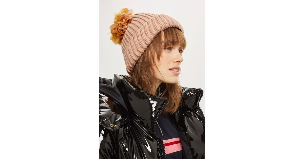 ad0cc96b1ba Lyst - TOPSHOP Pink Sequin Pom Pom Beanie Hat in Pink