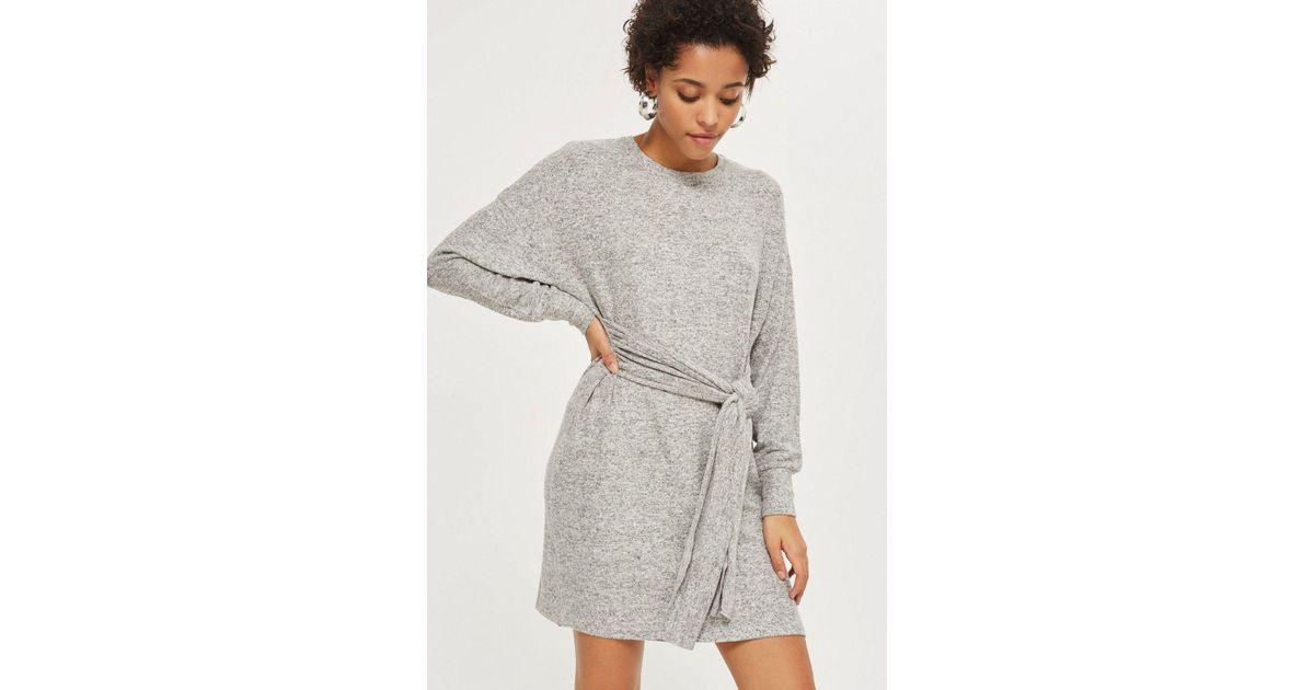 13edff2b7f9 Lyst - TOPSHOP Cut And Sew Jumper Dress in Gray