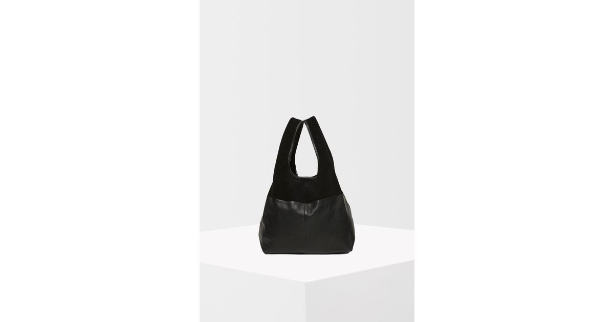 b0299a8ed4da TOPSHOP Premium Leather Slouch Grab Tote Bag in Black - Lyst