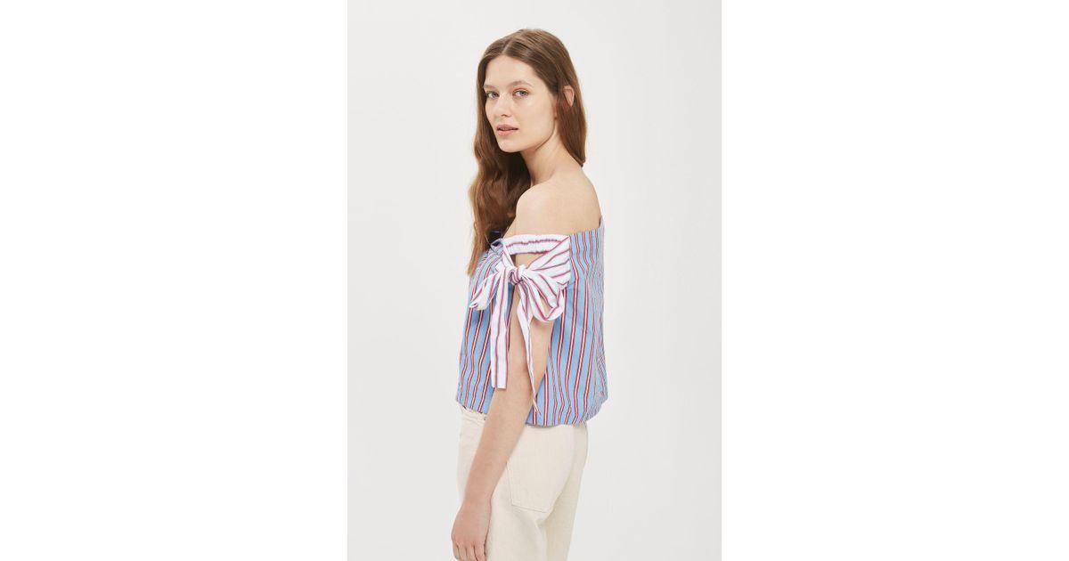 9c8961ca29b0c Lyst - TOPSHOP Tie Side Stripe Bardot Top in Blue