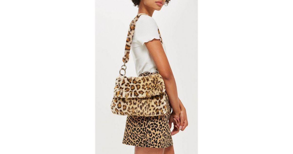 c2e70f234b TOPSHOP Leopard Print Teddy Faux Fur Shoulder Bag in Brown - Lyst