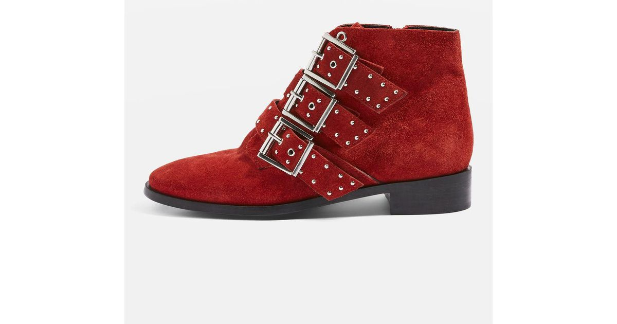 acf225d6e84 Lyst - TOPSHOP Krown Ankle Boots in Red