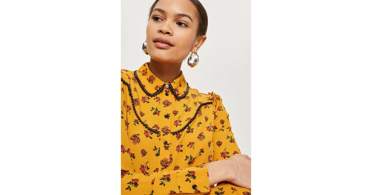 172bd4e74ef60e TOPSHOP Rodeo Floral Spotted Shirt in Yellow - Lyst
