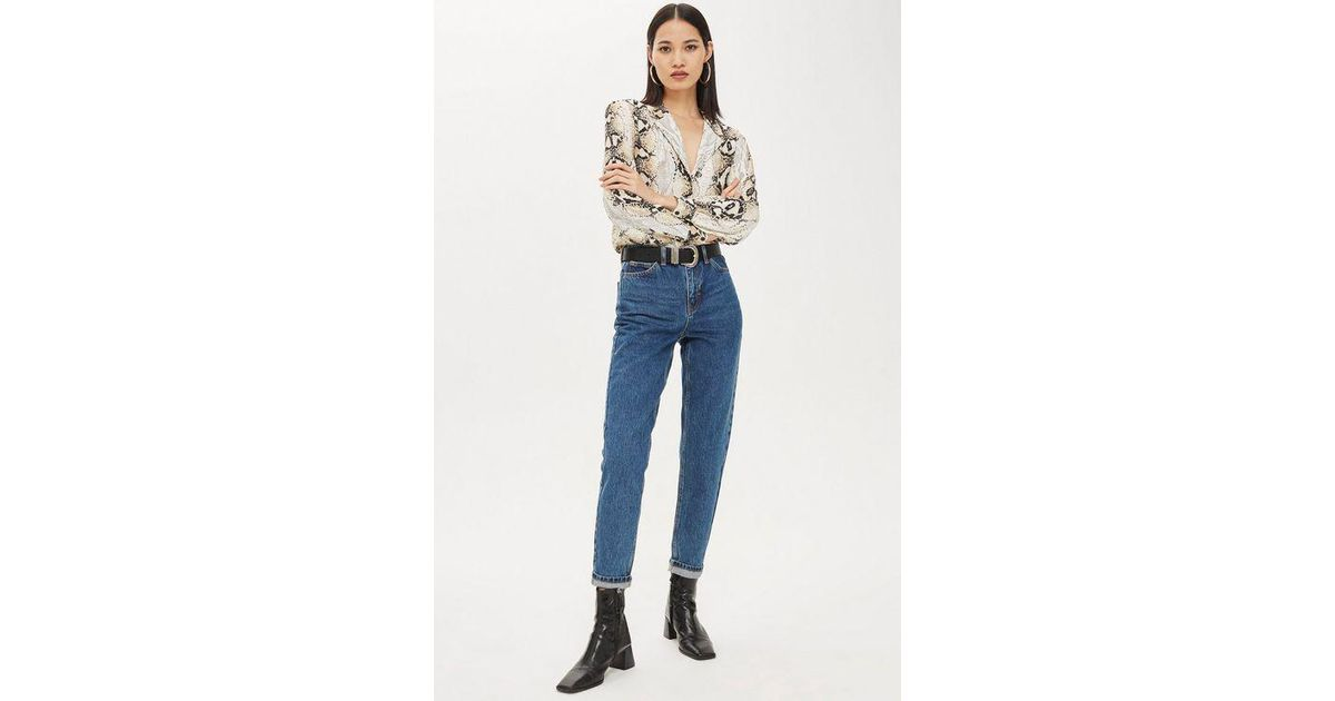5c1c3ed11598 TOPSHOP Richmom Jeans in Blue - Lyst