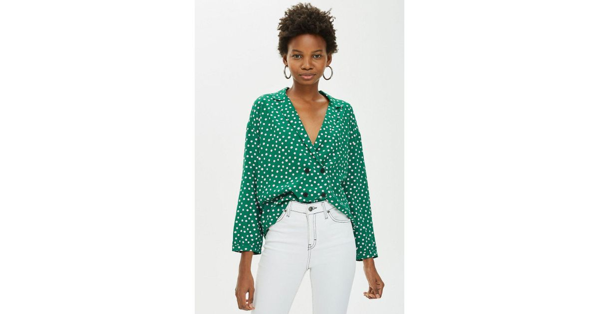 Lyst - TOPSHOP Spot Button Pj Style Shirt in Green c54df4816