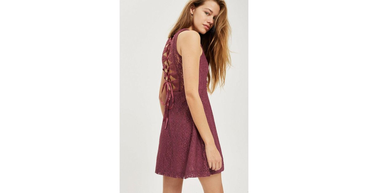 Lyst - TOPSHOP Petite Lace Up Skater Dress in Purple 5576da5f3