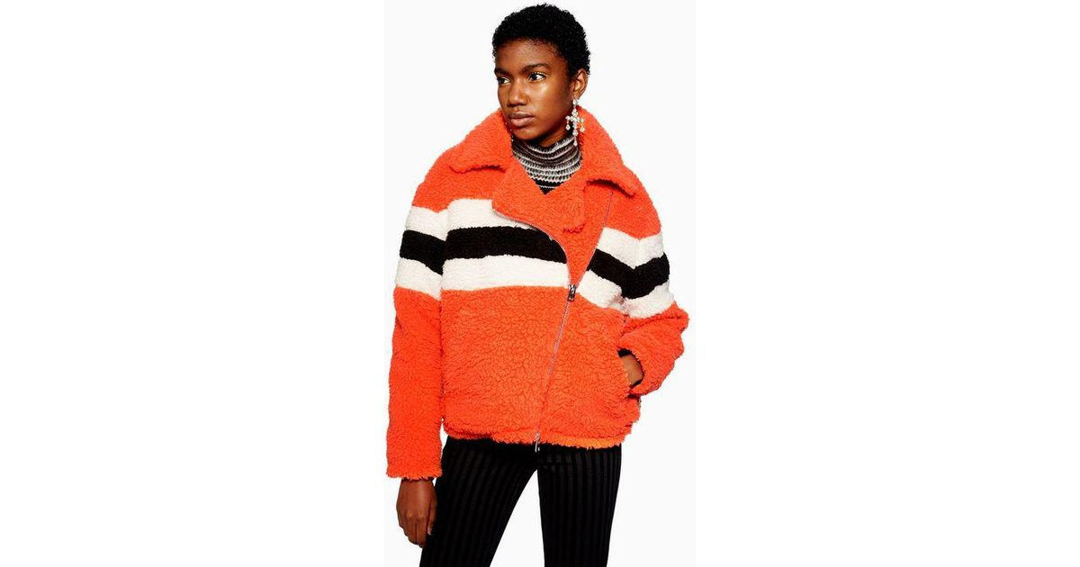 2bb0dd494 TOPSHOP - Orange Spice Biker Jacket - Lyst