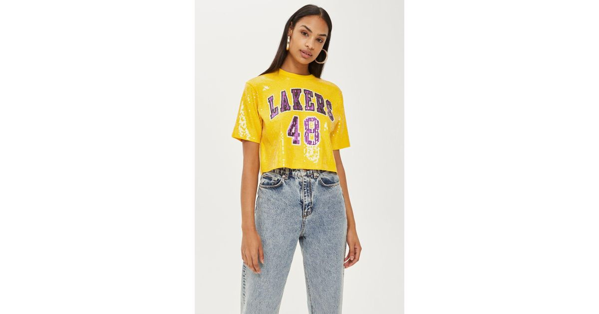 e1a76a346f3be8 TOPSHOP Lakers Sequin Crop Top By in Yellow - Lyst
