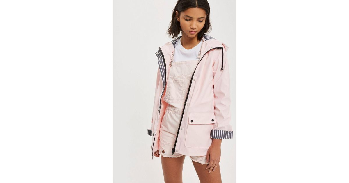 search for official latest trends on feet at TOPSHOP Pink Tall Hooded Mac Raincoat