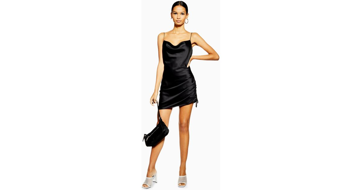 7d05a5e5658a2 TOPSHOP Ruched Mini Slip Dress in Black - Lyst