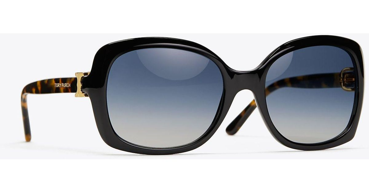 d71371e2bca9 Tory Burch Gemini Link Oversized Sunglasses in Black - Save 13% - Lyst