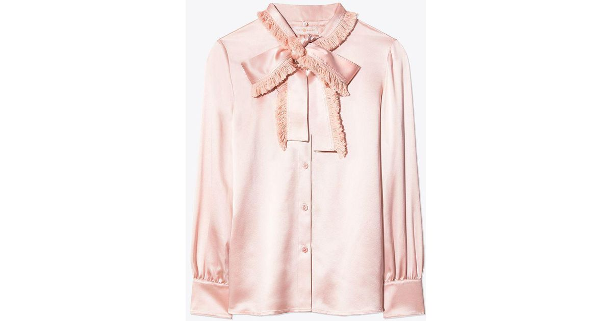 2bf15b17e3 Lyst - Tory Burch Fringe Bow Blouse in Pink