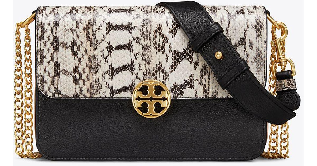7629b1e0ab Tory Burch Chelsea Colorblock Snake Crossbody Bag in Black - Save 23% - Lyst