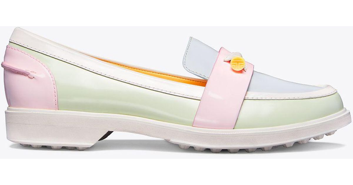 f4ebfc127ac Lyst - Tory Sport Color-block Pocket Tee Golf Loafer
