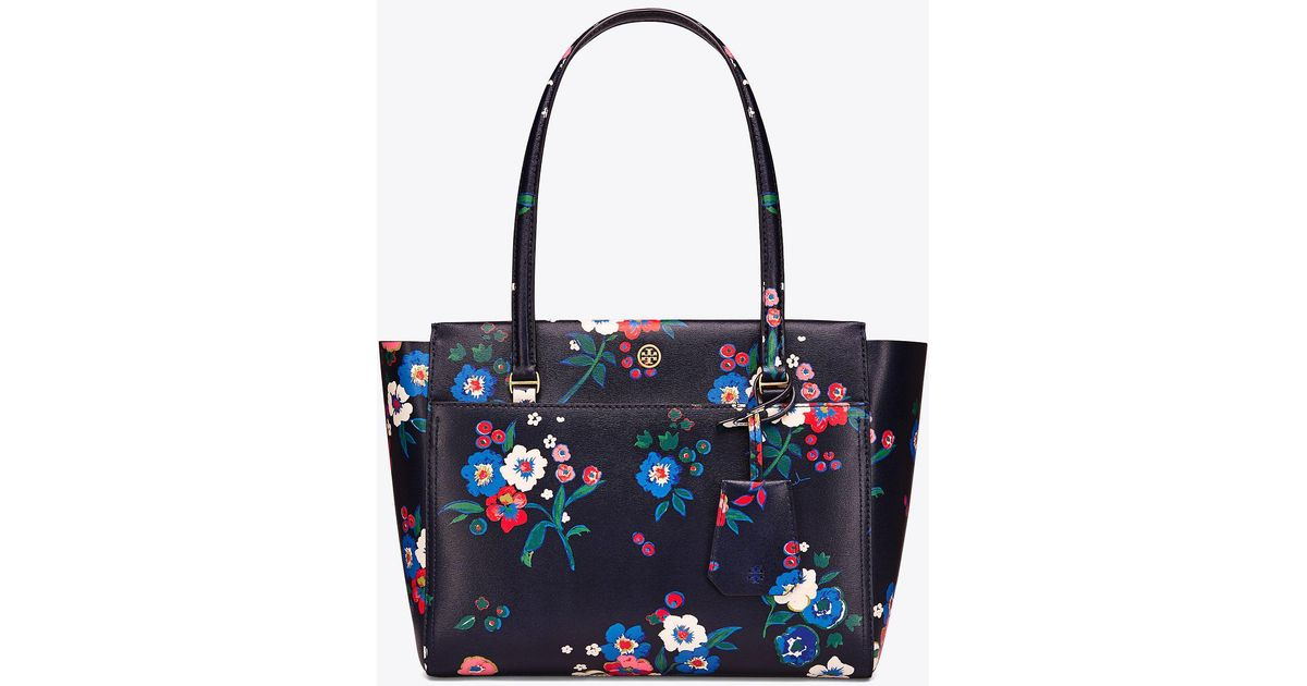 12c5a4c1a4a Lyst - Tory Burch Parker Floral Small Tote in Blue