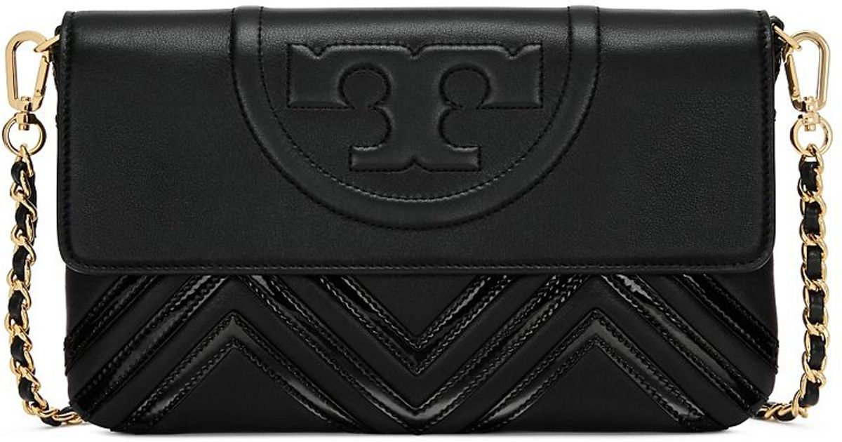 be261e34a1b8 Lyst - Tory Burch Fleming Geo-leather Clutch in Black