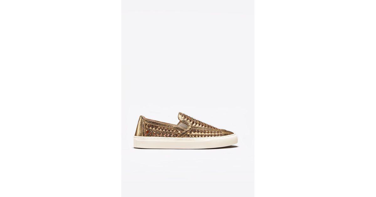 081b746fa115 Lyst - Tory Burch Huarache Metallic Slip-on Sneaker in Metallic