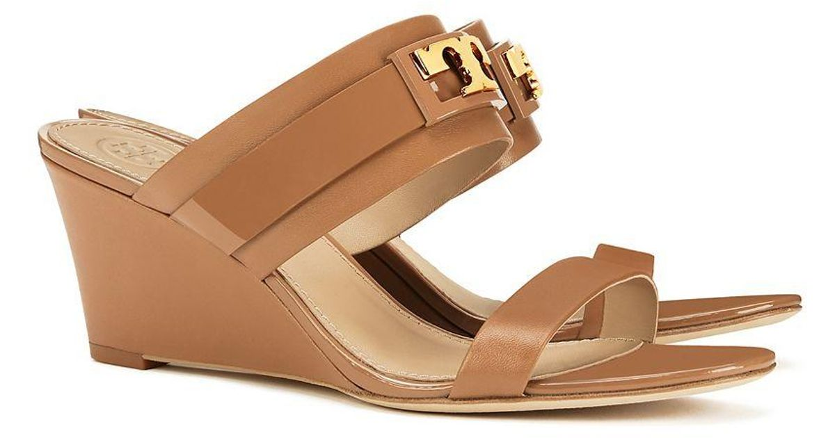 570356aee09 Lyst - Tory Burch Gigi Wedge Sandal in Brown