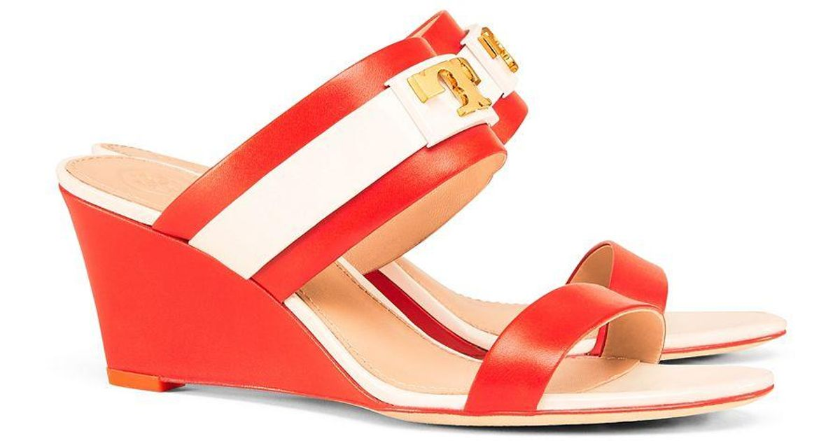 f8028ca34ee Lyst - Tory Burch Gigi Wedge Sandal in Red
